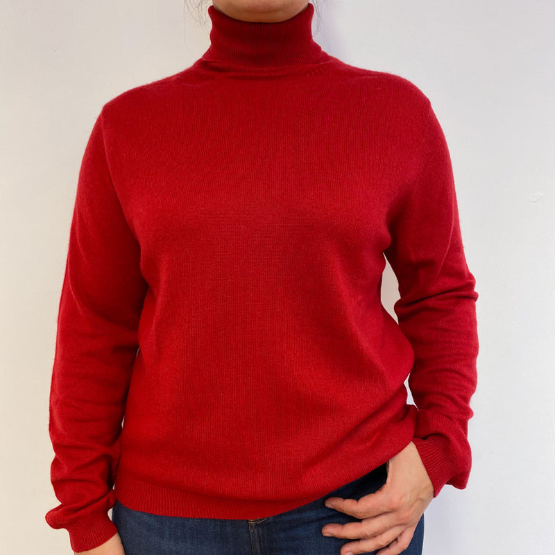 Red Polo Neck Jumper Large