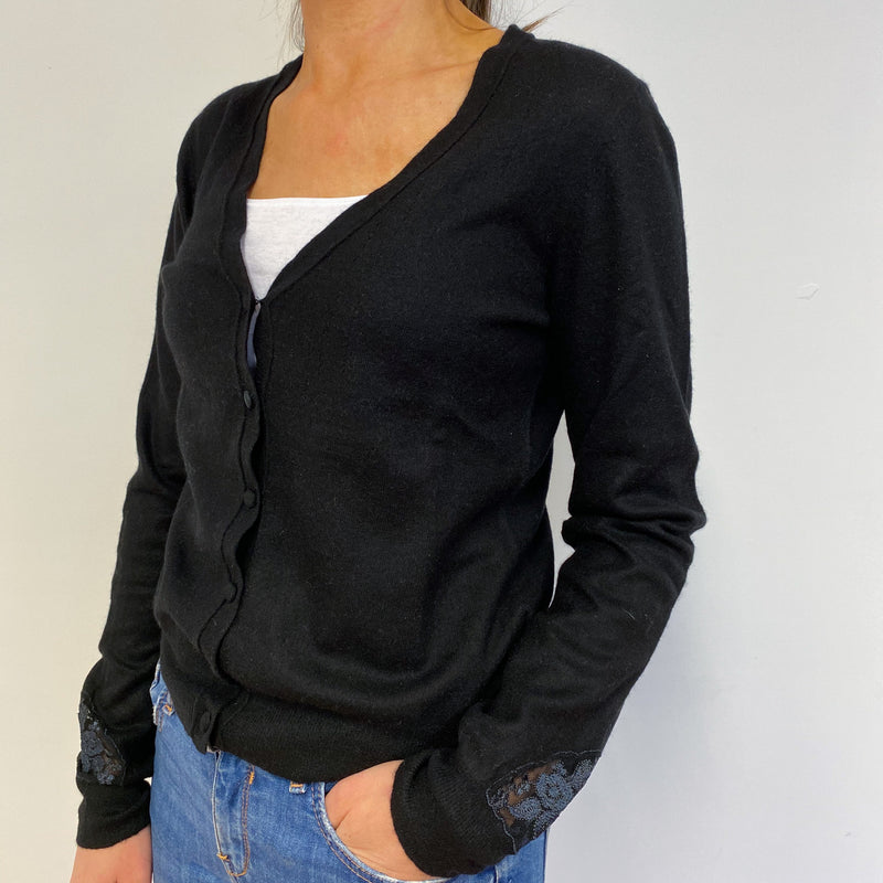 Lace Detail Black V Neck Cardigan Small