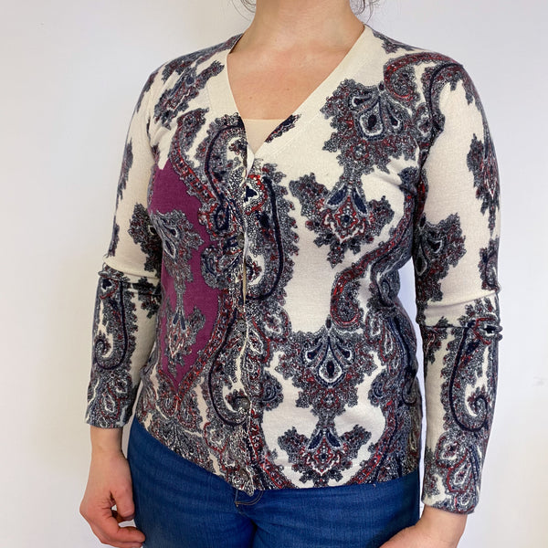 Cream and Purple Patterned V Neck Cardigan Large