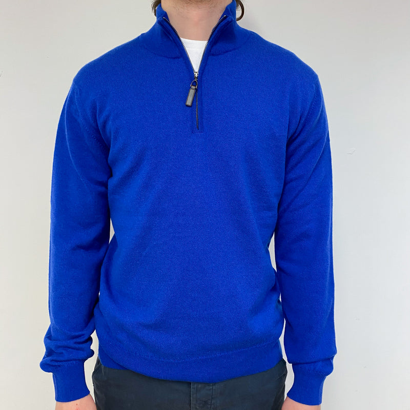 Men's Brand New Cobalt Blue Quarter Zip Jumper Medium