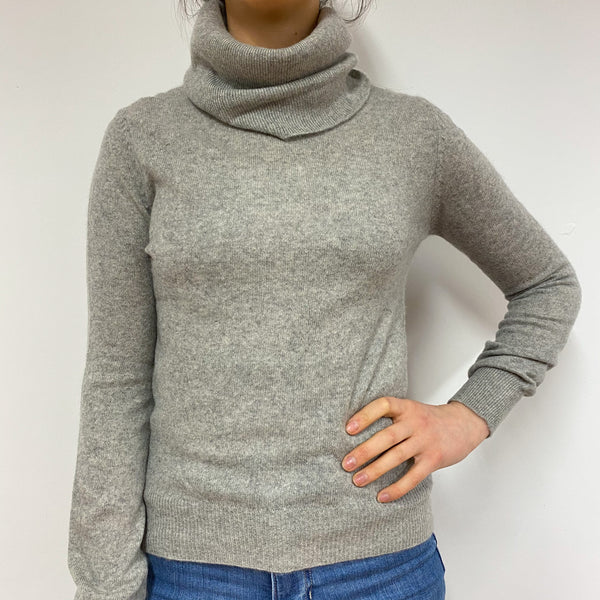 Pale Grey Polo Neck Jumper Small