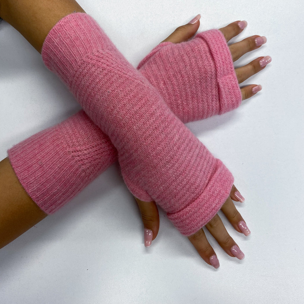 Crushed Strawberry Pink Fingerless Gloves