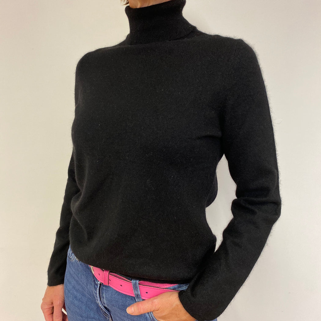Black Polo Neck Jumper Medium