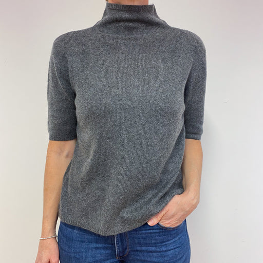 Charcoal Grey Funnel Neck Jumper Medium