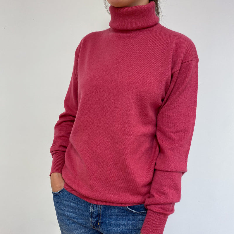 Rouge Pink Polo Neck Jumper Medium