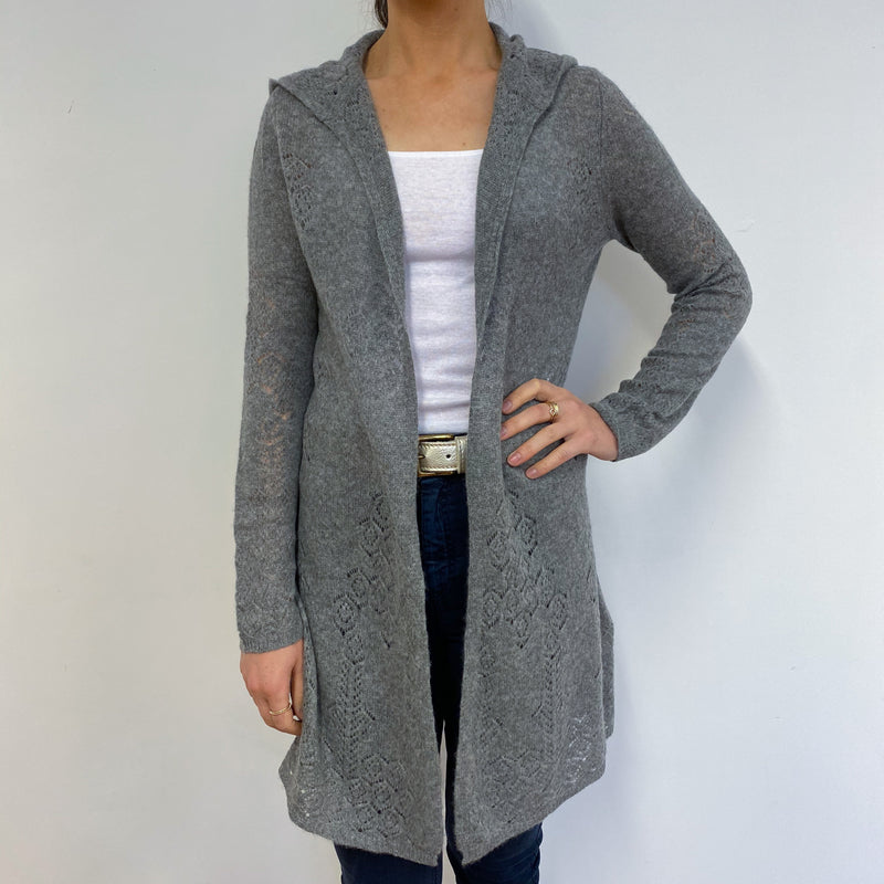 Mid Grey Hooded Open Cardigan Small