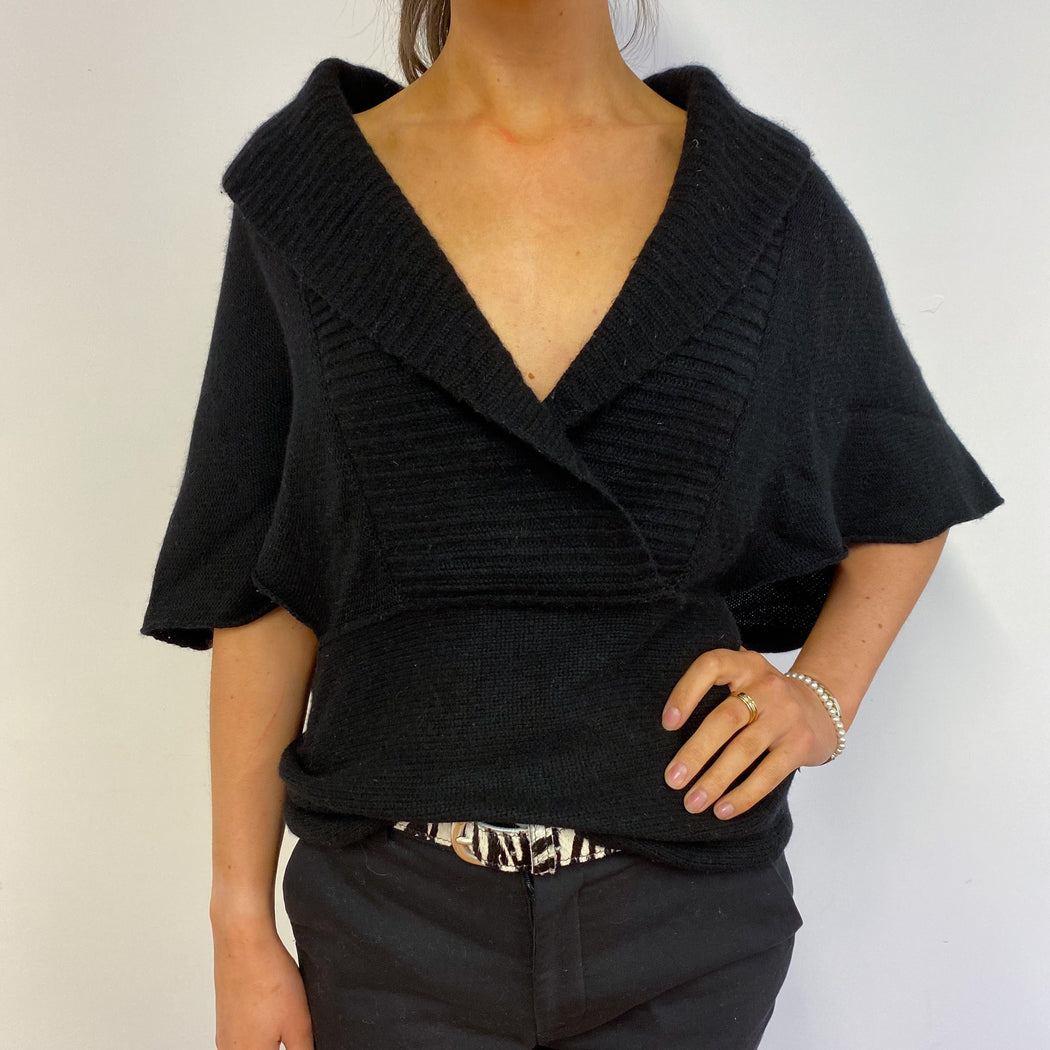 Black Shawl Collar Tunic Small
