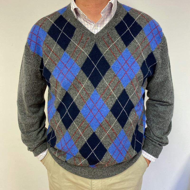 Men's Grey and Blue Argyle Patterned Jumper XL