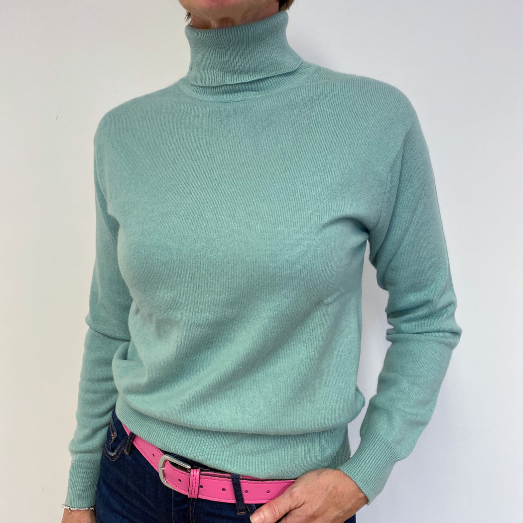 Fantastic Mint Green Polo Neck Jumper Medium