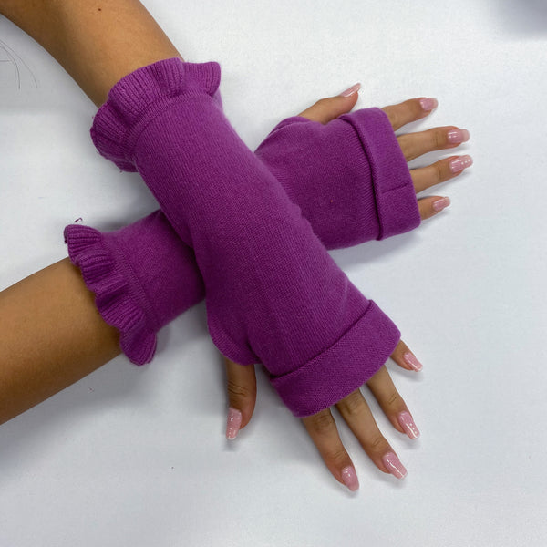 Mulberry Frill Cuff Fingerless Gloves