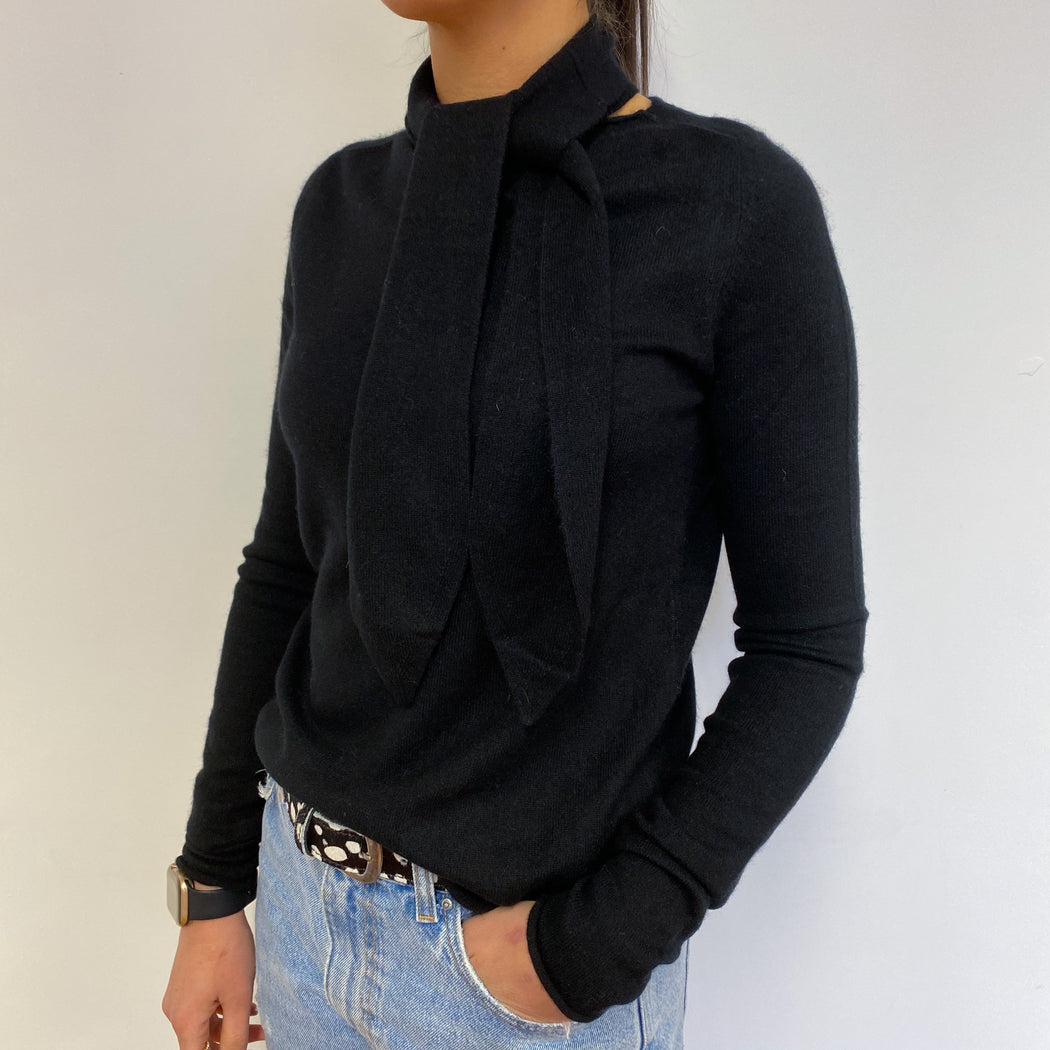 Black Crew Neck Jumper With Tie Detailing Small