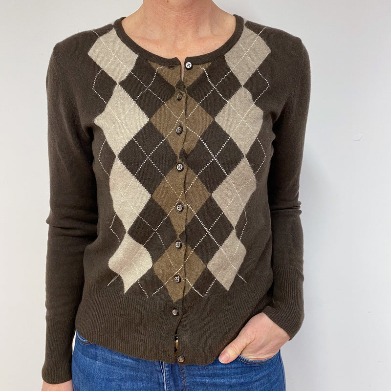 Chocolate Brown Diamond Pattern Cardigan Medium
