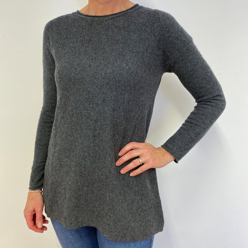 Charcoal Grey Tunic Style Jumper Medium