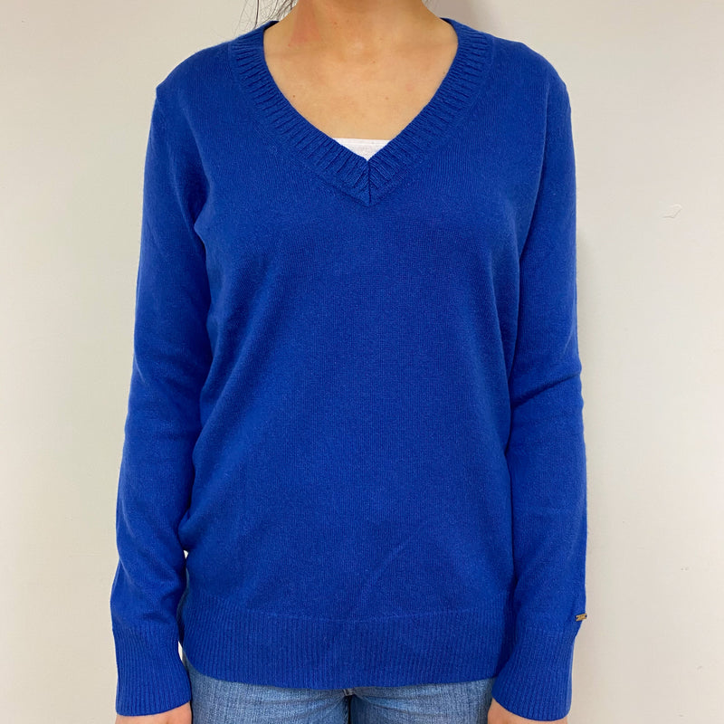 Royal Blue Deep V Neck Jumper Small