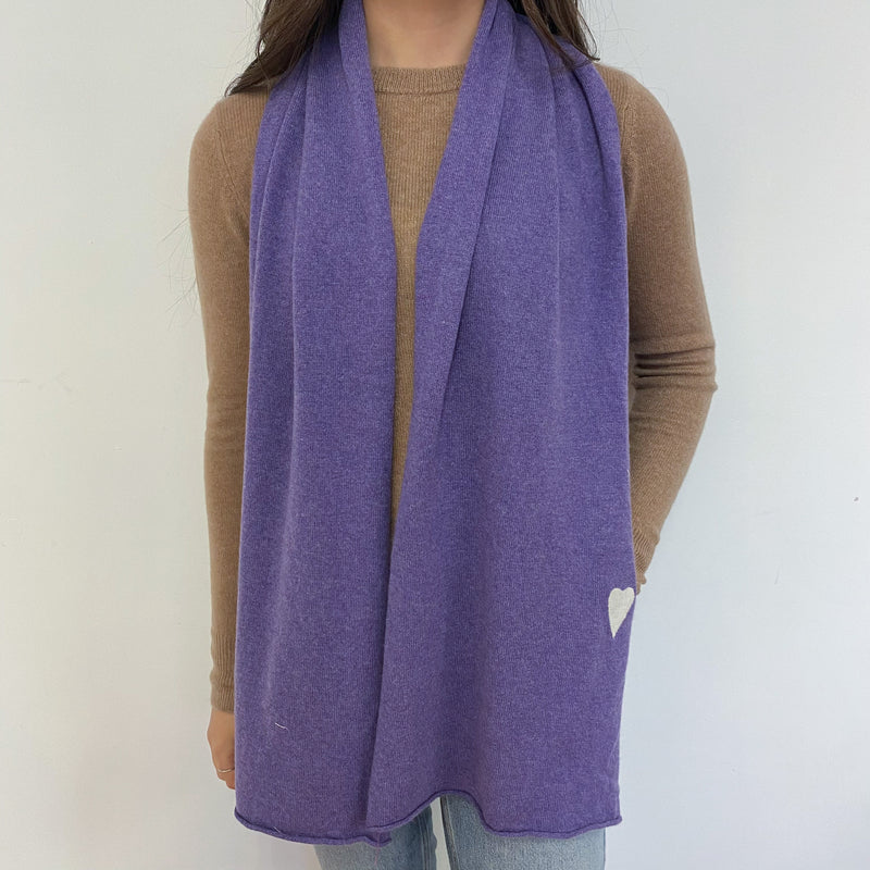 Rich Lavender Heart Detailed Scarf