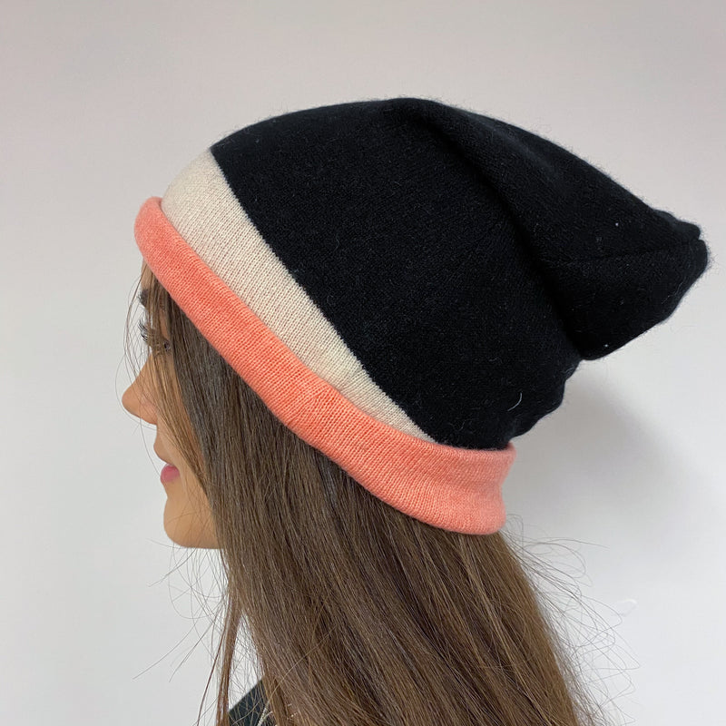 Reversible Coral, Cream & Black Hat