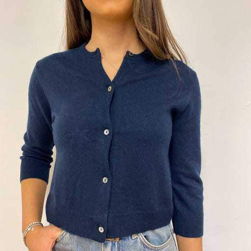 Navy Blue Crew Neck Cardigan Extra Small