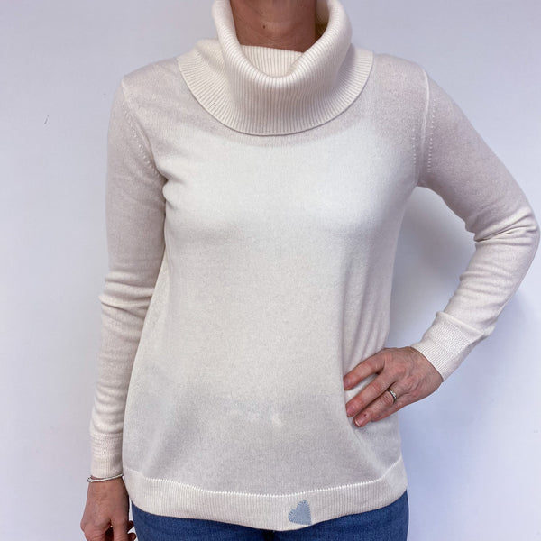 Ivory Polo Neck Heart Jumper Medium