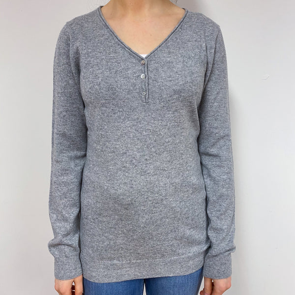 Pale Grey Button Detail V-Neck Jumper Small