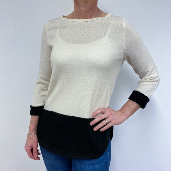 Black & Winter White Tunic Style Jumper Medium