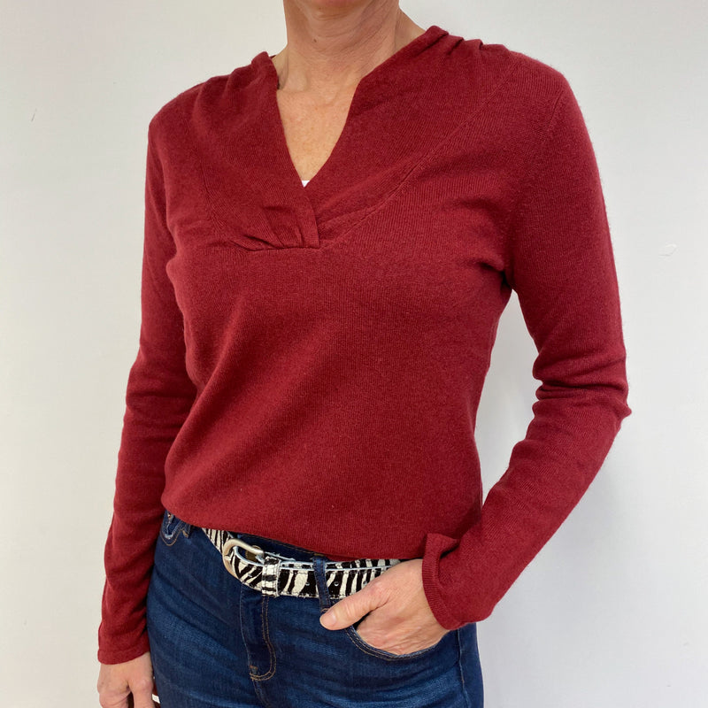 Fantastic Soft Red V Neck Jumper Medium