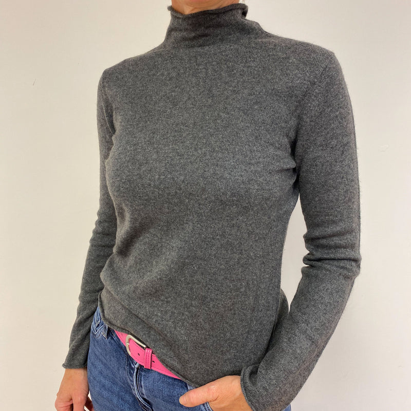 Mid Grey Polo Neck Jumper Medium