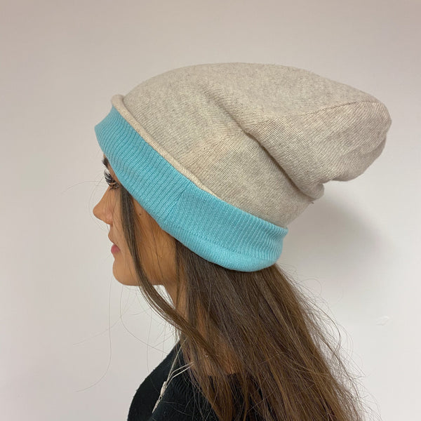 Reversible Turquoise Blue & Oatmeal Star Hat