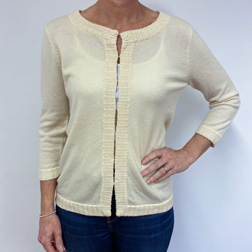 Brand New Scottish Cream Lace Edge Cardigan Large