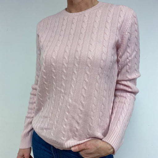 Baby Pink Cable Knit Crew Neck Jumper Medium