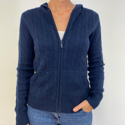 Fantastic Navy Blue Cable Knit Zip Through Hoodie Medium