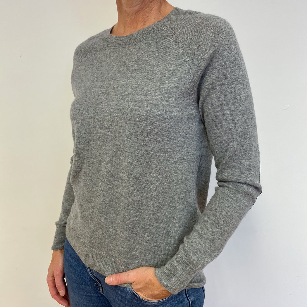 Mid Grey Crew Neck Tunic With Black Elbow Patches