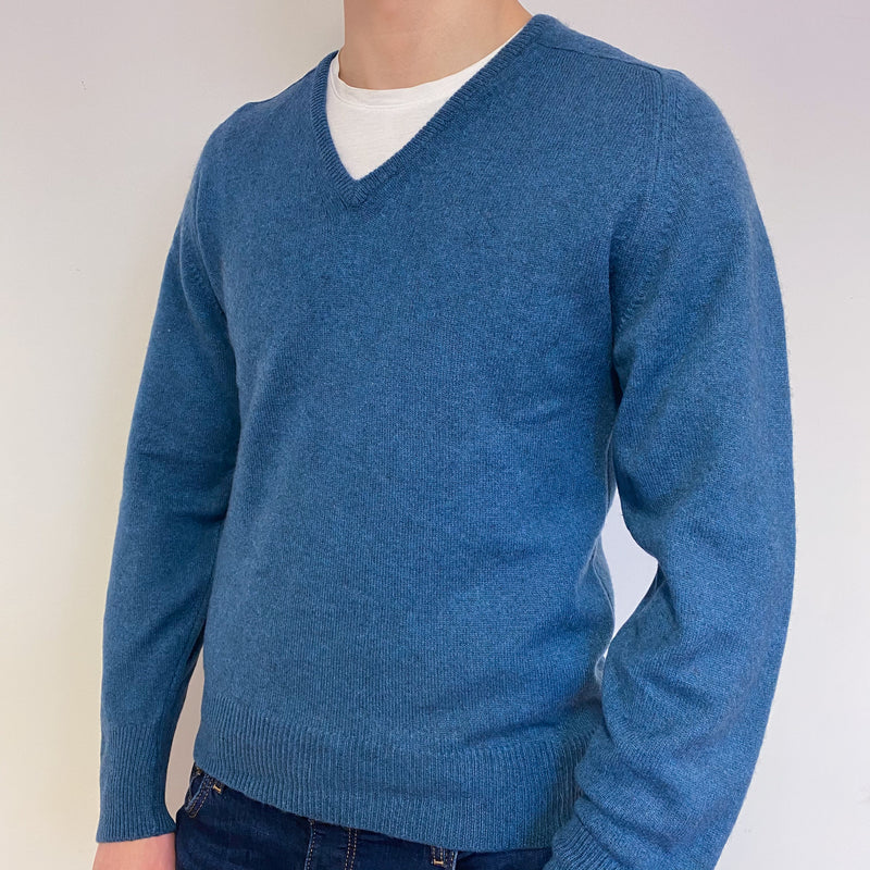 Men's Denim Blue V Neck Vintage Jumper Medium