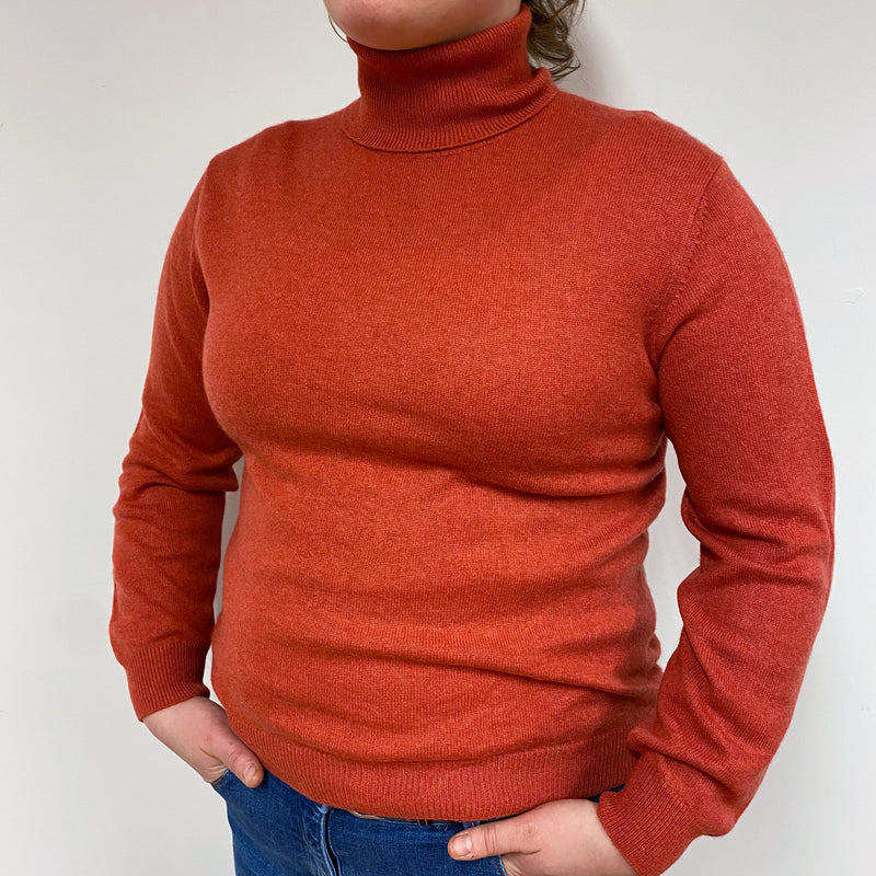 Muted Orange Polo Neck Jumper Large Petite