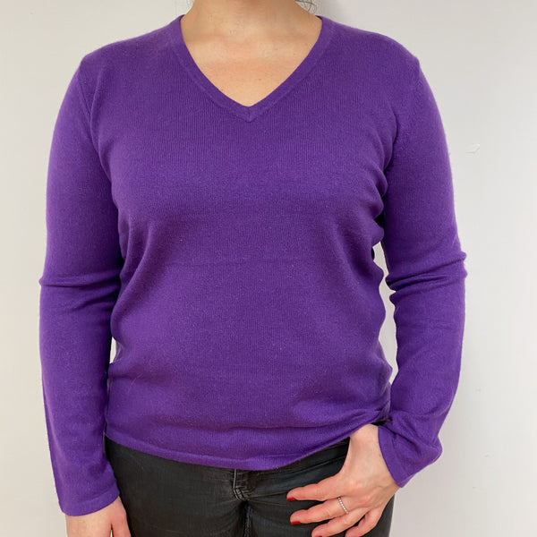 True Purple V Neck Jumper Large