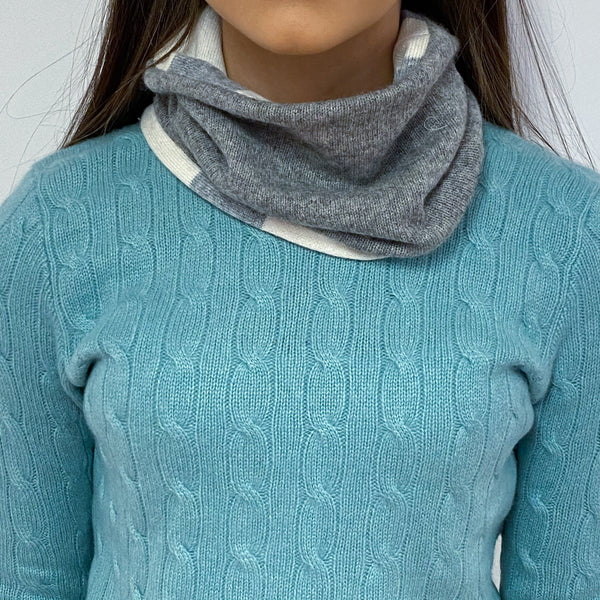 Pale Grey and Ivory White Striped Neck Warmer