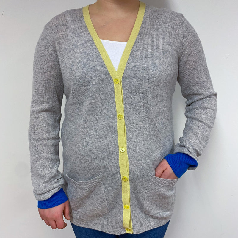 Pale Grey, Yellow and Blue Trim V Neck Cardigan Large
