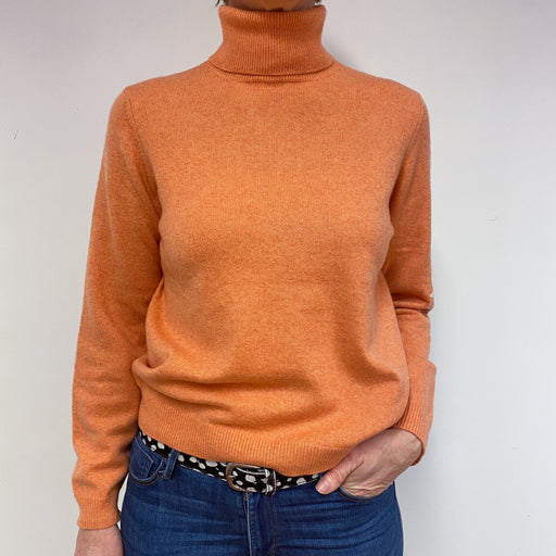 Satsuma Orange Polo Neck Jumper Medium Petite