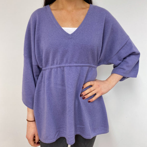 Dark Lavender V Neck Tunic Style Jumper Small