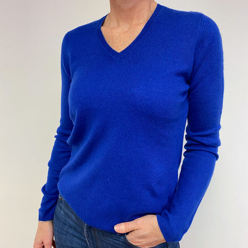 Cobalt Blue V Neck Jumper Medium