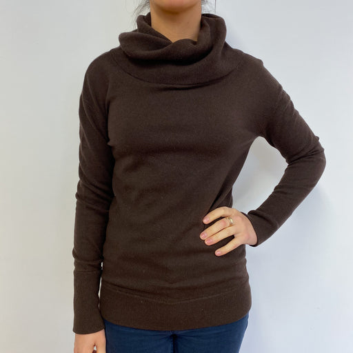 Chocolate Brown Twist Polo Neck Jumper Small