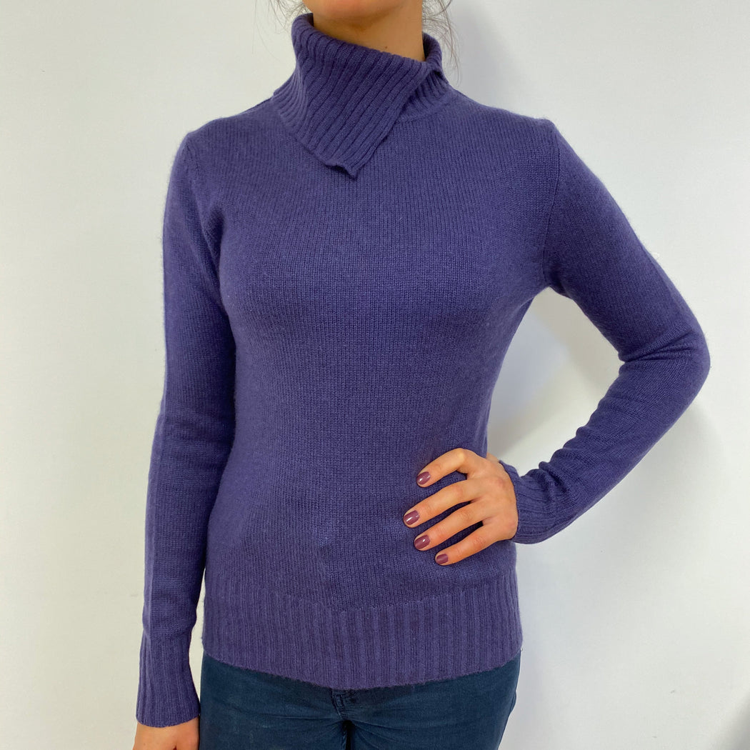 Byzantium Purple Split Polo Neck Jumper Small