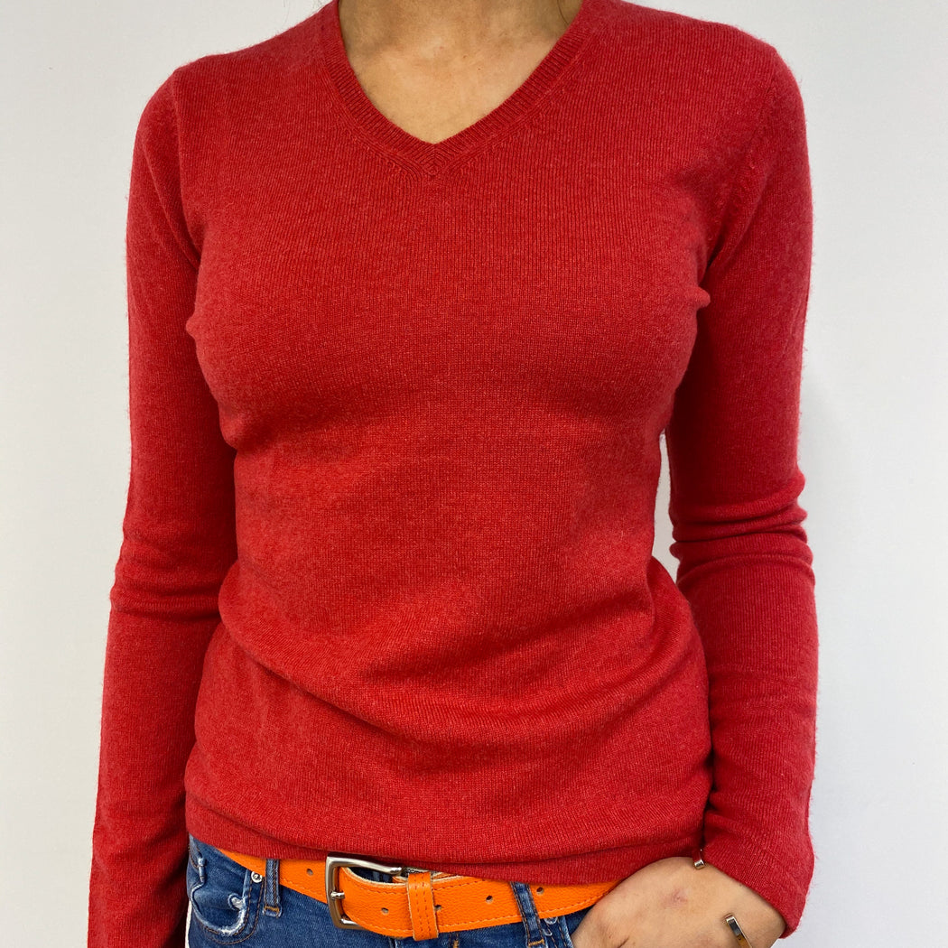 Spanish Red V-neck Jumper Small