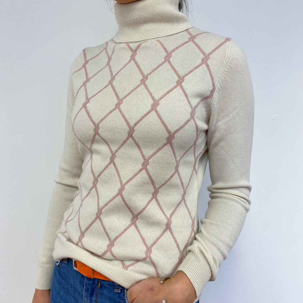 Cream Diamond Print Polo Neck Small
