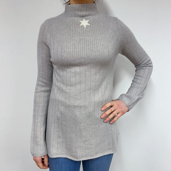 Dusty Grey Star Detailed Turtle Neck Jumper Small