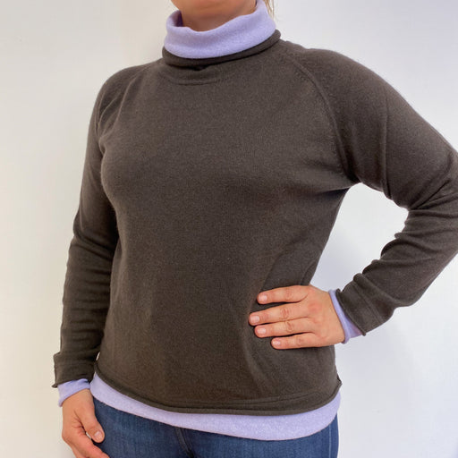 Fantastic Brown and Lilac Purple Polo Neck Jumper Large