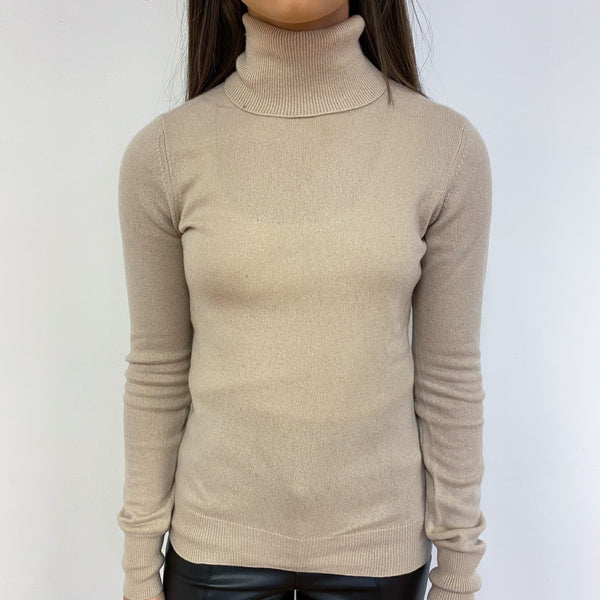 Pale Oatmeal Polo Neck Jumper Extra Small