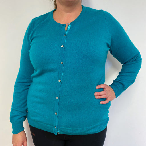 Lovely Teal Crew Neck Cardigan Extra Large