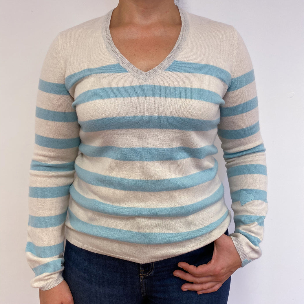 Pale Blue & Cream V Neck Jumper Large