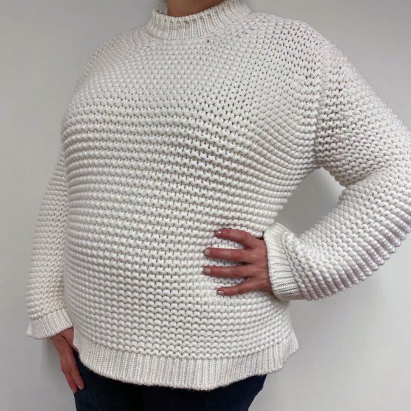 Ivory Super Chunky Knit Crew Neck Jumper Extra Large