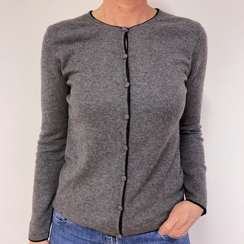 Mid Grey Black Trim Crew Neck Cardigan Medium